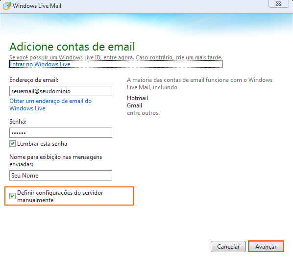 Como configurar seu e-mail no Outlook / Thunderbird / Windows LiveMail? 9