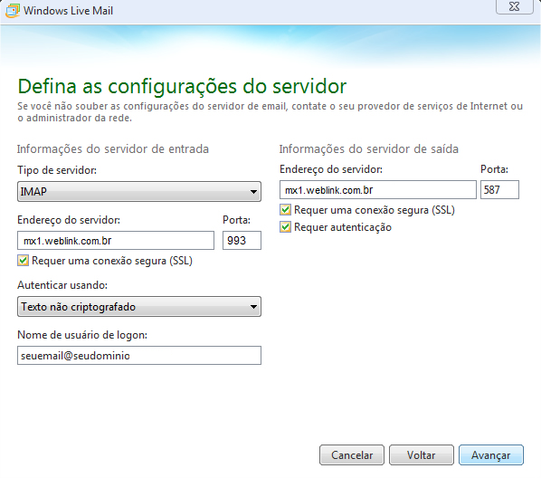 Como configurar seu e-mail no Outlook / Thunderbird / Windows LiveMail? 10